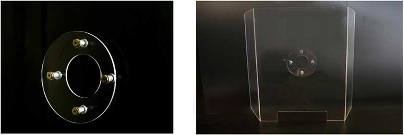 Plexiglass barrier freestanding with hole and pass thru