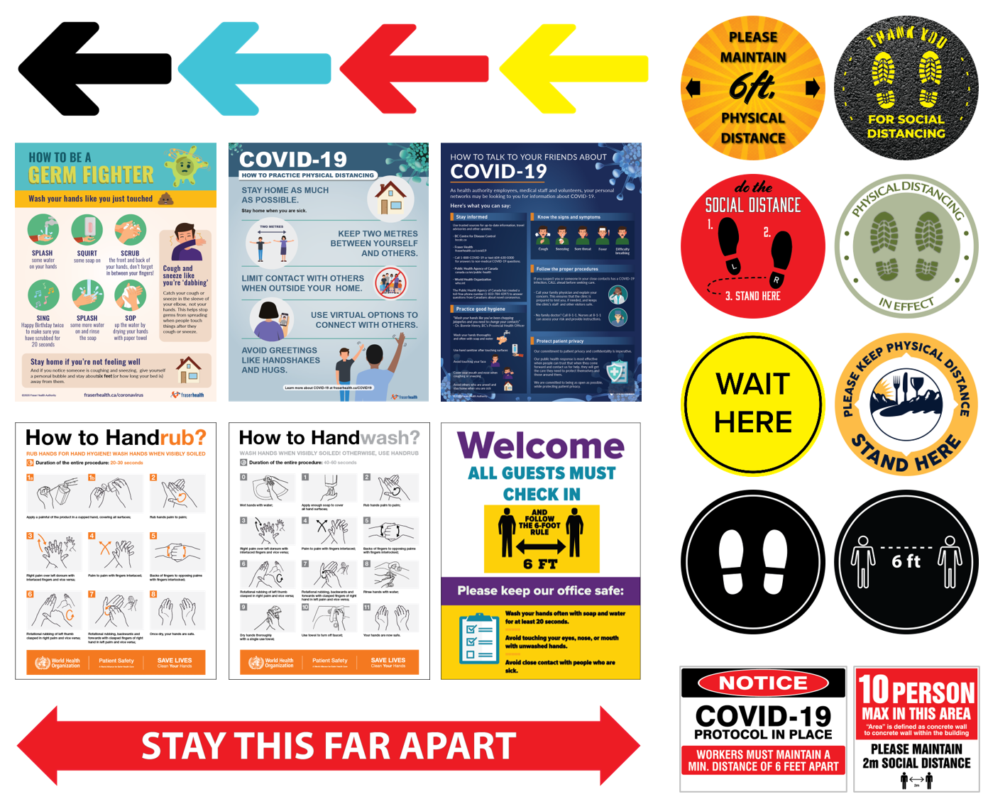 Covid-19 Info Posters and Floor Decals/Stickers